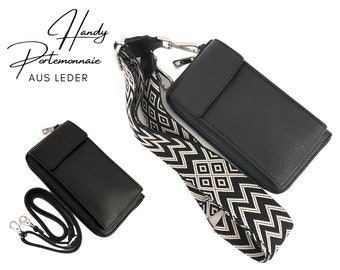 Black mobile phone wallet | | Wallet | wallet Genuine leather | | phone case narrow or XXL strap | Ethno black beige