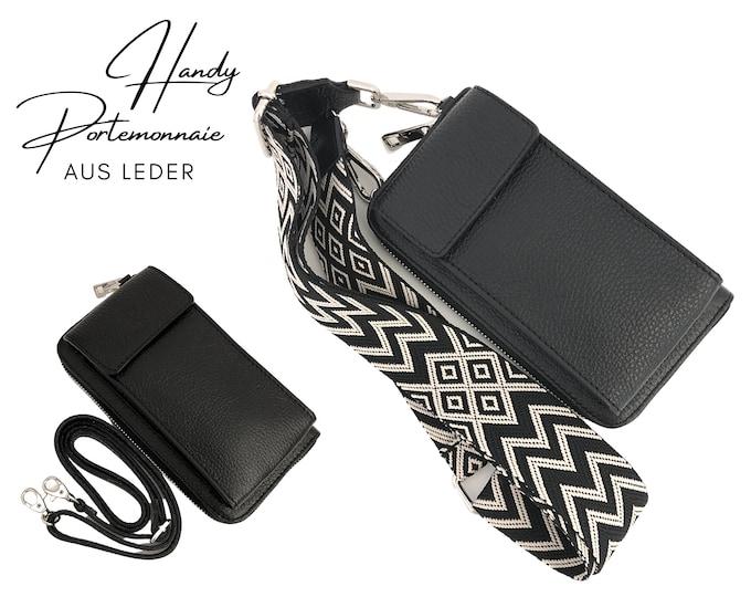 Black mobile phone wallet     Wallet   wallet Genuine leather     phone case narrow or XXL strap   Ethno black beige