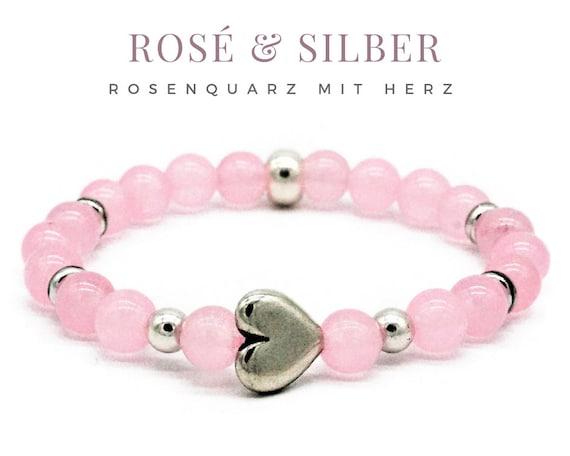 Elastic Bracelet | Rosé & Silver | Rose Quartz Beads | Silver-plated Heart | Silver Beads | Elastic bracelet