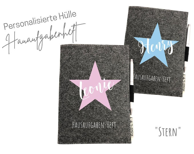 Back-to-school gift   personalized cover for booklets     homework booklet Star   Name schoolchild   grey felt   DIN A5