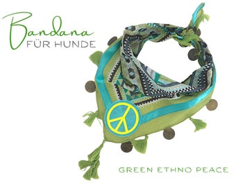 Green turquoise dogs scarf | Bandana Ethno Pattern | Triangular cloth for binding | PEACE neon yellow | Pet gift | Cloth size S/meter & size.M