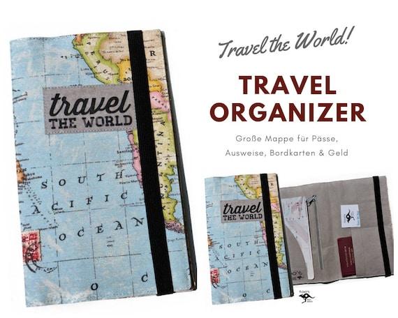 Travel Organizer | World Map | Travel Documents Case | Document Folder | Traveller | Travel Envelope | Passport Cover | Map | Map | Canvas