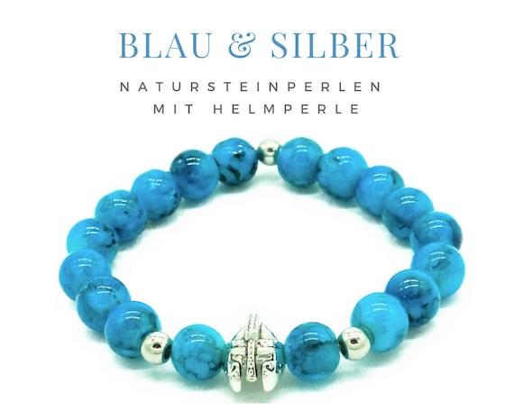 Pearl Bracelet | Blue Turquoise | Natural Stone Beads | Silver Helmet | Elastic Bracelet | Men's Jewelry | Unisex