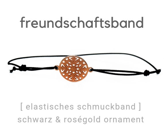 Elastic Friendship Band | Jewelry Band | Roségoldenes Ornament | Rose Gold & Black | Rubber | Sliding knots | Wish Band | Elastic Band