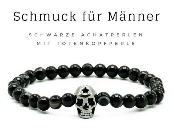 Bracelet for Men | Black agate beads with skull | Skull | Skull | Achat Men's Jewelry | Men's bracelet | Pearl bracelet | Agate