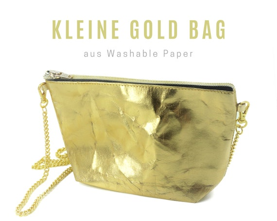 Small golden bag from Washable Paper | Shoulder bag | Crossbody Bag | Cosmetic bag | Clutch | Handbag