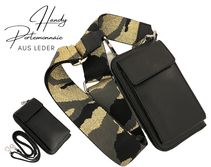 Black mobile phone wallet     Wallet   wallet Genuine leather     phone case narrow or XXL strap   Camouflage with gold