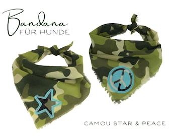 Dogs neck scarf | Camouflage camouflage pattern khaki | Turquoise Star Peace | Bandana | Triangle cloth for binding | Boho Fringe | Gr. S