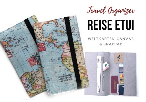 Travel Organizer | World Map | Travel Documents Case | Document Folder | Traveller | Travel Envelope | Passport Cover | Map | Map | Canvas