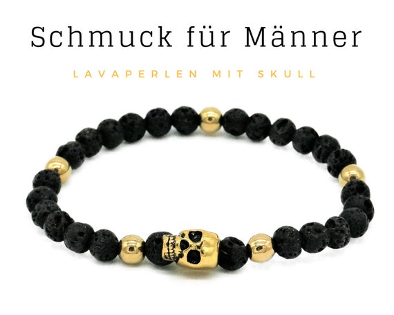 Elastic Men's Bracelet | Black & Gold | Lava Beads | Skull and Crossbones | Pearl Bracelet | Elastic Bracelet | Skull and Bone | Skull |