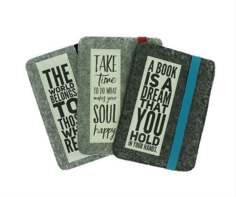 E Reader Case Kindle Felt Gray Slogan Case E Book