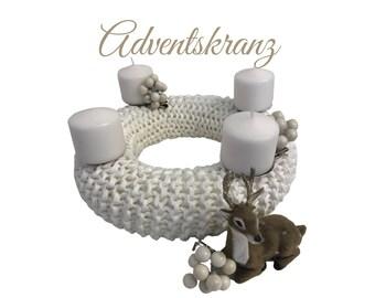 White Advent wreath | knitted | Upcycling Wool | Skandi Decoration | Christmas | Wreath | 30 cm diameter | Boho Style | sustainable