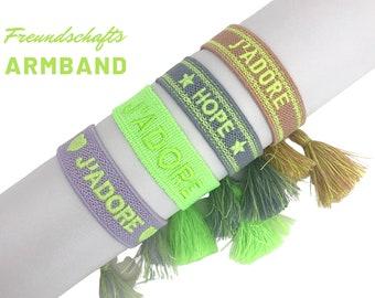 Neon yellow | JADORE | HOPE | Friendship bracelet in bright neon colors | Web bracelet | Tassels | Summer bracelet