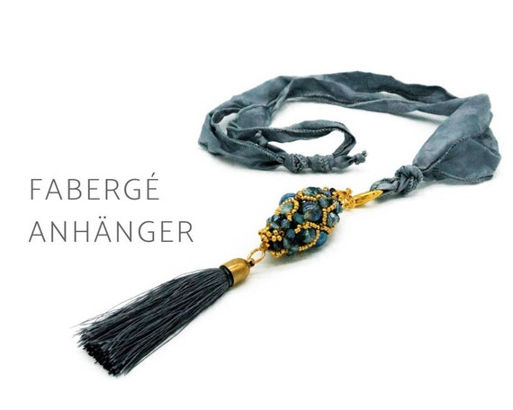 Beaded woven Fabergé pendant on silk ribbon | Glass beads | Tassel | Blue Grey and Gold | Long Chain | Pearl Necklace | Mala | Drop