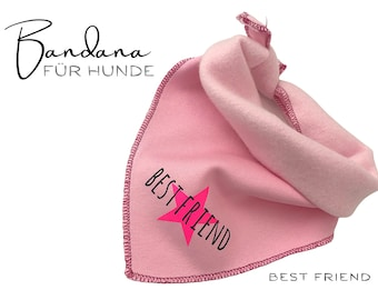 Pink Dogs Neck Scarf | Best Friend | Bandana | Triangle cloth | for binding | neon pink star | Scarf Sweat Fabric | Gr. S & Gr.M