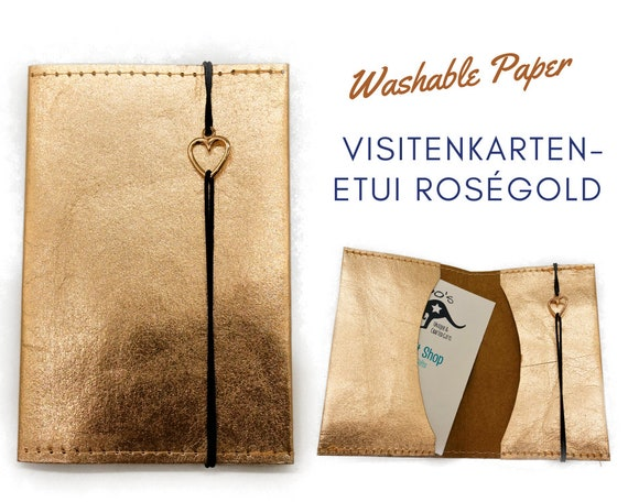 Business cards Etui in roségold from Washable Paper | Pulty for Business Cards | With ribbon and heart