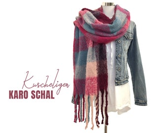 Large checked scar | pink | blue grey checkered | woven cloth | Cuddly scarf