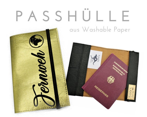 Passhülle | Travel Organizer | Gold | Washable Paper | Case | Portfolio for Pass, ID & Co | Wanderlust | Inscription