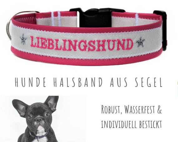 Pink Sail Dog Collar | Favorite Dog | upcycling | Embroidery | Artificial Leather | Neck circumference 50-55 cm | 4 cm Wide | Necklace Made of sail