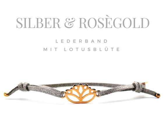 Silver bracelet with roségolden Lotus flower | Leather band | Lotus Blossom