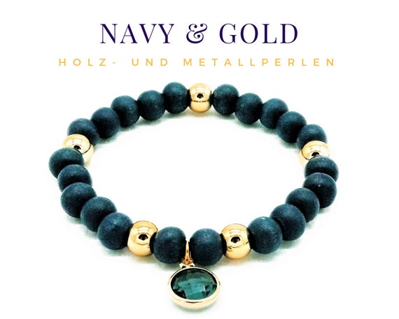 Elastic Bracelet | Blue & Gold | Wood and Metal Beads | Glass Crystal Pendant | Pearl Bracelet | Elastic Bracelet | Navy