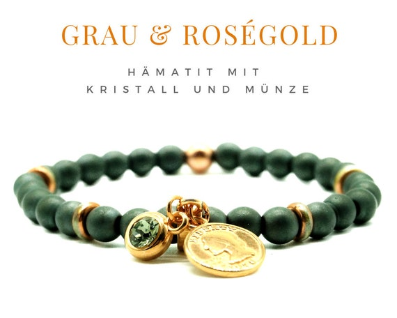 Anthracite hematite beaded bracelet with pendants in Rose gold | Coin | Crystal | Elastic Bracelet | Grey Elastic Bead Bracelet