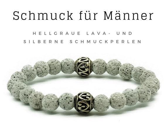 Bracelet for Men | Light grey lava stones with silver jewellery beads | Male jewellery | Men's bracelet | Pearl bracelet | Light grey silver lava