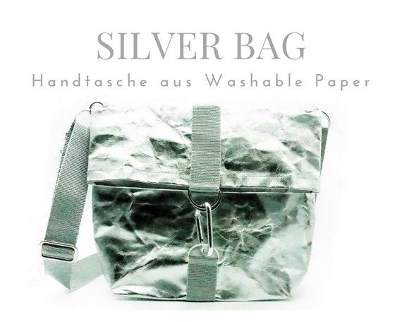 Silver bag from Washable Paper | Shoulder bag | Crossbody Bag | Handshake hand line | SnapPap
