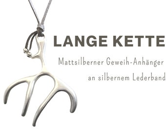 Long chain with large pendant | Antlers | matt silver | Leather strap | Coral | Branch | Branches | Chain Pendant | XXL Pendant