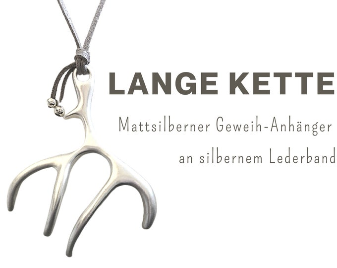 Long chain with large pendant   Antlers   matt silver   Leather strap   Coral   Branch   Branches   Chain Pendant   XXL Pendant