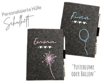 Back-to-school gift | personalized cover for booklets | | homework booklet Pusteblume | Balloon | Name schoolchild | grey felt | DIN A5