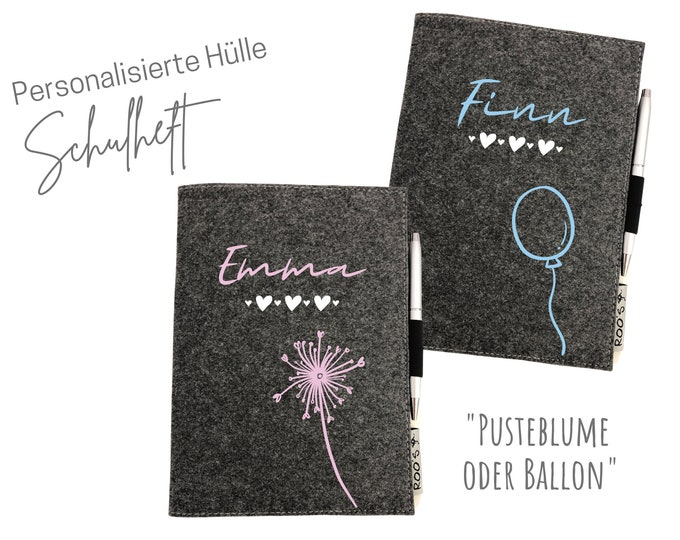 Back-to-school gift   personalized cover for booklets     homework booklet Pusteblume   Balloon   Name schoolchild   grey felt   DIN A5