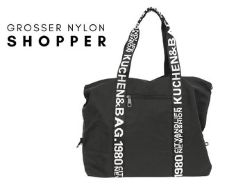 Black Nylon Shopper | Large bag with black and white webbing | labelled carrying straps | Letters black white