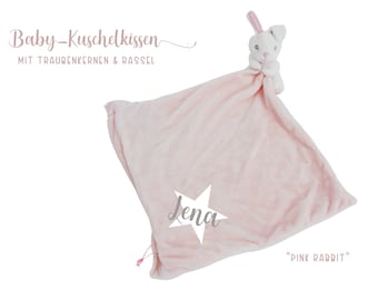 Pink pillow with bunny | personalized | Grape seed cushion | Heat cushion | Plush pillow with baby name | Gift Birth Baptism