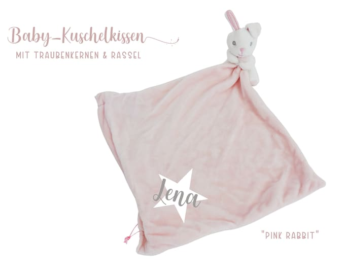 Pink pillow with bunny   personalized   Grape seed cushion   Heat cushion   Plush pillow with baby name   Gift Birth Baptism
