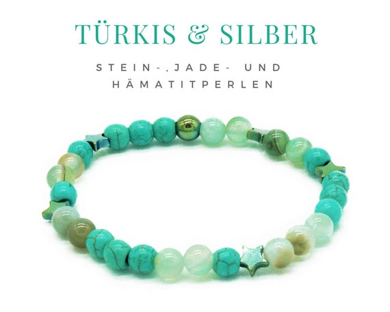 Elastic Bracelet | Turquoise and light green jade, Stone & Hämatitperlen | Pearl Bracelet | Asterisk