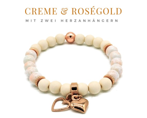 Elastic Bracelet | Creme & Rose Gold | Acrylic and Wood Beads | Pendant Heart | Elastic Bracelet | Pearl Bracelet