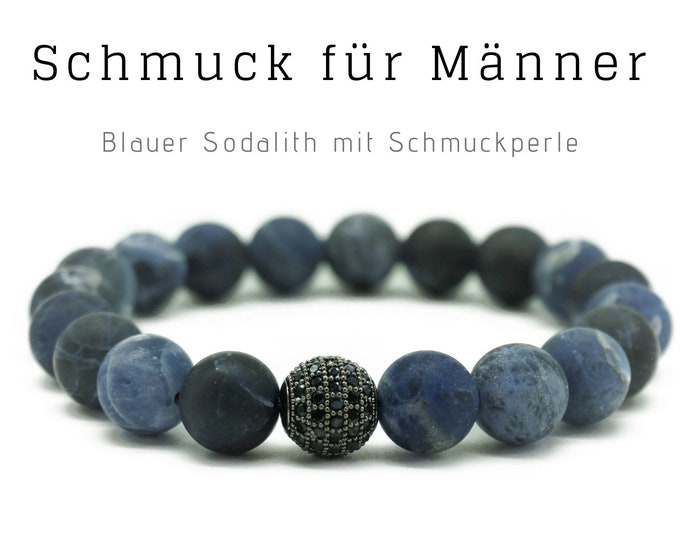 Blue beaded bracelet   Sodalith with cubic zirconia jewelry bead   Men's jewellery   Men's bracelet   Gift for husband   Father's Day