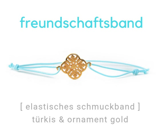 Elastic Friendship Band | Jewelry Band | Golden Ornament | Gold & Turquoise | Rubber | Sliding knots | Wish Band | Elastic Band