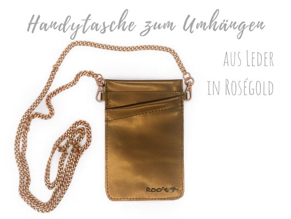 Roségold phone bag for cloting   Crossbody phone case   Metallic Smooth Leather   Mobile phone handheld bag   Cross Body leather sleeve   Mobile phone chain