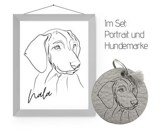 SET: Dog Portrait & Dog Tag in One Line Art | Digital print and jewelry tag made of leather after your dog photo | Personalized