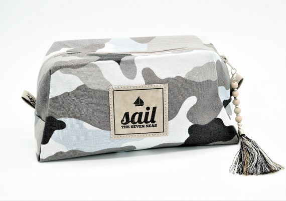Bag | Cosmetic bag | Culture bag camouflage, grey | Lined | With beads and tassels pendant