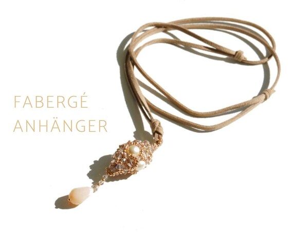 Pearl-Woven Drop Pendant | Freshwater Pearls | Leather Strap | Long Chain |  Cone-Shaped Pendant | Drop | Beige | Fabergé Egg
