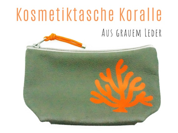 Grey leather cosmetics bag | Motif Coral in orange | Make up bag | Make-up bag | Bag
