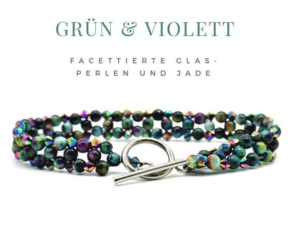 Woven Jade Bracelet | Faceted glass beads | Green violet turquoise | Pearls | Pearl bracelet | Knebel closure