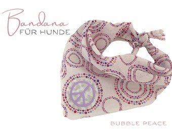 Dogs scarf | Bandana | white with pink | Kringel | Triangular cloth for binding | pink white | Peace sign in lilac purple | Gr.M