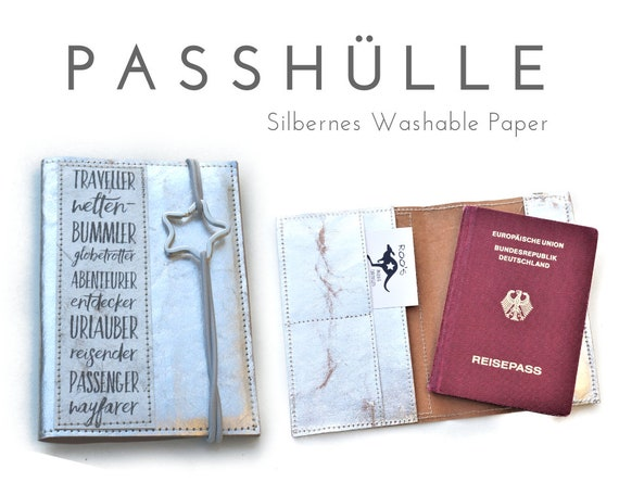 Passport Case | Travel Organizer | Silver | Washable paper | Shell | Map for passport, papers, cards, driver's license, credit card, business card