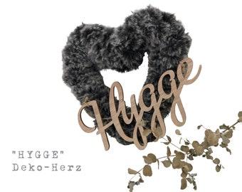Grey Heart HYGGE | crocheted | Wool | Skandi Decoration | Boho Style | Wooden lettering | Wood Font