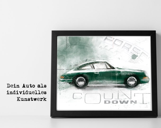 | your car as a work of art Art Print | Car Art | Car Poster | Art printing | Sports car | Gift for men | according to photo template