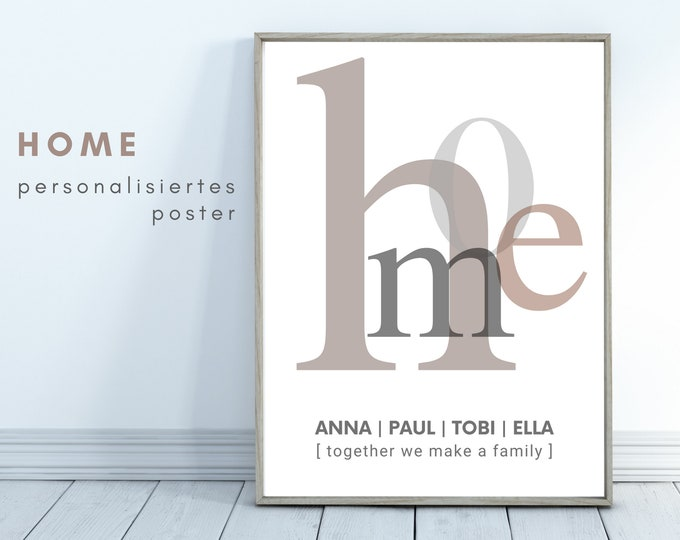 HOME | personalized poster | family | Gift Family | individually | Typo | Writing | Family poster | Picture of the move-in
